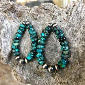 Kingman Turquoise & Navajo Pearl Loop Earrings